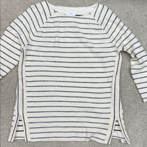 Loft Lounge NWT ivory/black striped shirt.  Size L